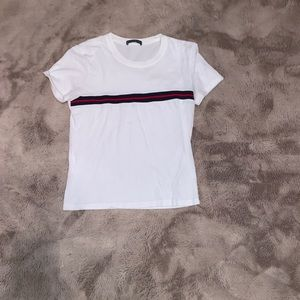 White with Blue and Red Stripe Top